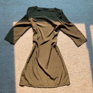 Mango olive green silk slip dress